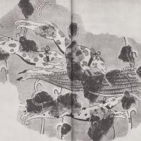 Тиринф. Настенная живопись. Преследуемый собаками кабан, раненный копьем (стоящего с правой стороны охотника, изображение которого ныне не сохранилось). Фото: Анджей Дзевановский