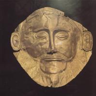 Микены. Золотая маска, найденная в 5-ом захоронении могильного круга А, XVI в. до н.э. Национальный музей в Афинах. Фото: Анджей Дзевановский
