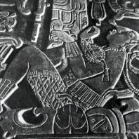 Рельеф на крышке саркофага из «Храма Надписей» в Паленке. Фрагмент. Культура майя