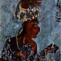 Воин. Фрагмент росписи храма в Бонампаке. 2-я половина 8 в.
