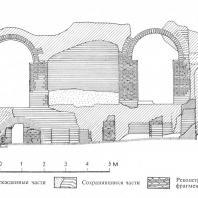 Александрия Египетская. Ком эль-Дикка. Внутренная стена римских терм после частичной реконструкции аркады и гипокауста. Фрагмент разреза. Рис. В. Колонтая
