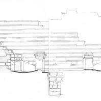 Александрия Египетская. Ком эль-Дикка. Театр с частью театрона. Состояние перед реконструкцией. Разрез. Рис. В. Колонтая