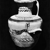 Чернофигурная гидрия из некрополя Гадра. III в. до н.э. Греко-римский музей в Александрии