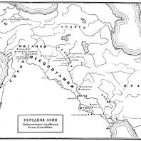 Карта: Передняя Азия (4 - начало 3 тысячелетия до н.э.)