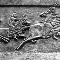 Охота Ашшурбанипала. Рельеф из дворца Ашшурбанипала в Ниневии. Алебастр. Середина 7 в. до н. э. Лондон. Британский музей