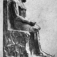 Статуя фараона Хафра из заупокойного храма Хафра в Гизэ. Диорит. IV династия. Первая половина 3 тыс. до н. э. Каир. Музей