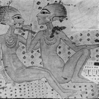 Дочери Эхнатона. Фрагмент росписи дворца в Ахетатоне (Эль-Амарне). Высота фигур 22 см. XVIII династия. Начало 14 в. до н. э. Оксфорд. Музей