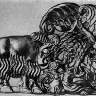 Орел, когтящий барана. Золотой рельеф из Сибири. 1 в, до н. э. — 1 в. н. э. Ленинград. Эрмитаж