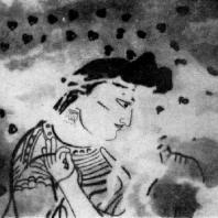 Так называемая «Червонная дама». Фрагмент росписи из дворца Топрак-кала (Хорезм). 3 в. н. э. Из раскопок Хорезмской экспедиции под руководством С. П. Толстова