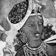 Фрагмент росписи пещерного храма № 17 в Аджанте. Конец 5 в. н. э.