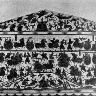 Битва на мосту. Рельеф из гробницы У Лян-цы. Провинция Шаньдун. Период Хань. 147 г. н. э.