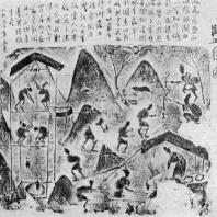 Добыча каменной соли. Рельеф из провинции Чэнду. Период Хань. 3 в. до н. э. — 3 в. н. э.