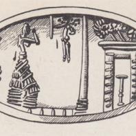 Печать золотого кольца: сакральная сцена в святилище, Кносс, Крит