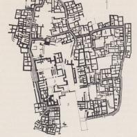 План поселения Гурния, Крит: 1. храм; 2. дворец; 3. внутренний двор
