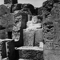 Карнак. Египет. Храм Амона. Фрагмент статуи фараона у святилища Тутмоса III. Фотограф: Анджей Дзевановский