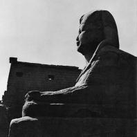 Луксор. Египет. Один из сфинксов периода XXX династии перед пилоном Рамсеса II. Фотограф: Зигмунт Высоцкий