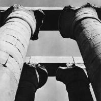 Луксор. Египет. Капители в виде раскрытых цветков папируса. Фрагмент колоннады Аменхотепа III. Фотограф: Анджей Дзевановский