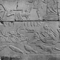 Переправа стада через Нил. Рельеф из мастабы Кагемни в Саккаре. VI династия. Фото: Анджей Дзевановский