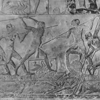 Рыбаки. Рельеф мастабы Птаххотепа в Саккаре. V династия. Фото: Анджей Дзевановский