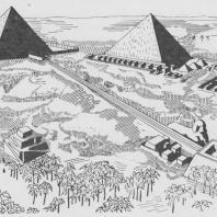 Комплекс пирамид в Гизе. Древнее царство. Реконструкция
