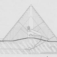 Разрез пирамиды Хеопса (север-юг). Реконструкция В. Козиньского: 1. Пирамида по III схеме; 2. Пирамида по I схеме; 3. Максимальный уровень Нила; 4. Нормальный уровень Нила