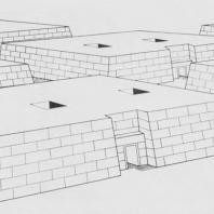 Мастабы чиновников в некрополе в Гизе. Древнее царство. Реконструкция