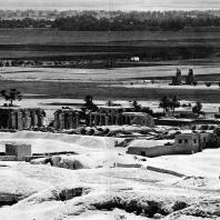 Фивы. Египет. Рамессеум. Общий вид с севера, в глубине колоссы Мемнона. Фотограф: Анджей Дзевановский