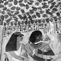 Фивы. Египет. Шейх Абд эль-Гурна. Гробница Сеннефера. Умерший с супругой. Стенная роспись, XVIII династия. Фотограф: Анджей Дзевановский