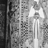 Фивы. Египет. Долина цариц. Гробница Нефертари. Осирис. Стенная роспись на столбе, XIX династия. Фотограф: Анджей Дзевановский