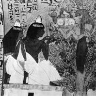 Фивы. Египет. Деир-эль-Медине. Гробница Сеннеджема. Поклонение богине священного дерева. Стенная роспись, XIX династия. Фотограф: Анджей Дзевановский